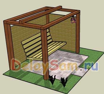 Садовые качели. Как сделать простой садовый диван – качели. Проекты садовых диванов – качалок.
