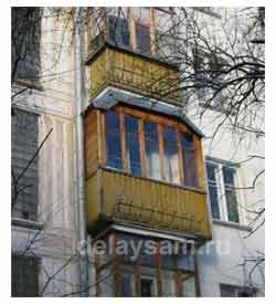 Остекление и благоустройство балкона. Отделка балкона деревом. Установка балконных рам.
